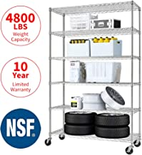 Meet perfect Commercial-Grade Heavy Duty 6-Tier NSF-Certified Metal Steel Wire Shelving Units with Wheels, 76