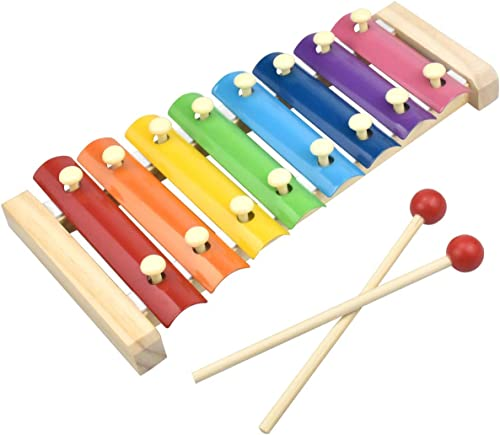 ADA Handicraft Xylophone for Kids Wooden Xylophone Toy with 8 Knocks Child Safe Mallets for Educational Preschool Learning Music Enlightenment Musical Instruments Size 24 x 11 x 3cm