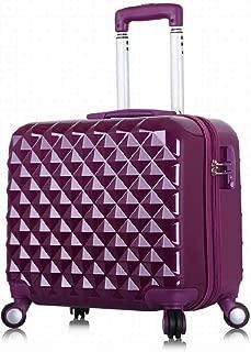 Portable Trolley Case ABS+PC Material TSA Password Lock Mute Caster Fashion Female Mini Suitcase 17 Inch (Color : Purple)