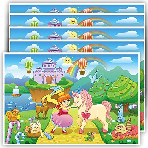 Princess and Unicorn Placemats for Kids 40 Pack Disposable Girl Placemats for Baby Toddler Kids product image