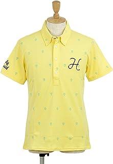 [ハリールイド] ポロシャツ 半袖ボタンダウン UVカット 抗菌防臭 ロゴプリント柄 モノグラム風 メンズ ゴルフウェア