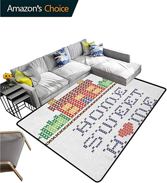 Home Sweet Home Contemporary Area Rug Large Colorful Graphic Style Cross Stitch Embroidery Design Needlework Theme Easy Maintenance Area Rug Living Room Bedroom Carpet 5 X 8 Multicolor