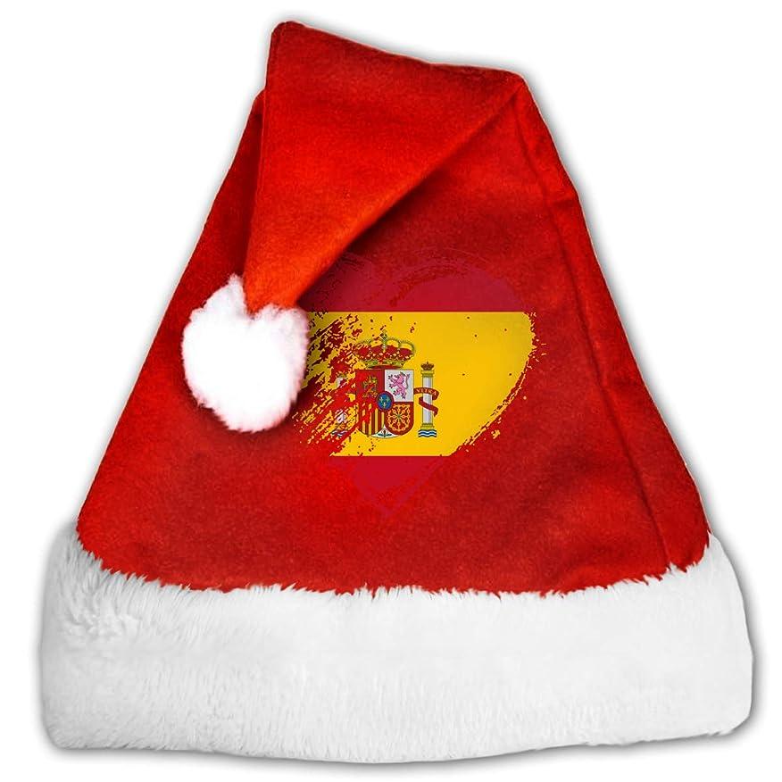 招待カプラー一生Grungy I Love Spain Heart Flag クリスマス デコレーション 帽子 子 大人 ユニセックス クリスマス帽子 美しい ギフト