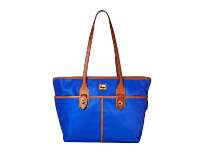 Dooney & Bourke Camden Double Pocket Tote (French Blue/Dark Chocolate Trim) Tote Handbags