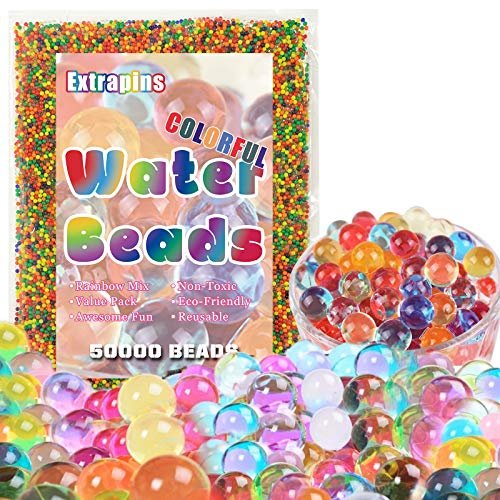 50000 PCS Bulk Water Beads, Rainbow Water Gel Beads for Kids Non Toxic, Growing Magic Water Beads, Sensory Beads for Sensory Toys, Plants, Vases, Home Decoration (2.02.5mm-Bag)