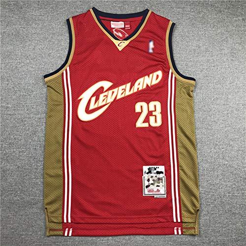 Hombre Cleveland Cavaliers # 23 Lebron James Bordado NBA Baloncesto Jersey, Ocio Secado Rápido Transpirable Suelto, Camisa De Chaleco Sin Mangas,Rojo,M(170~175cm)