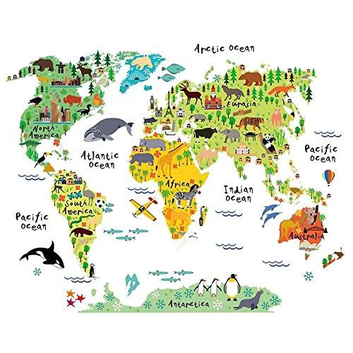 Doolland Animal World Map mural, Carte Animaux Enfants Grands Educatifs Famous Building Carte Mondiale Peel Stick Stickers Muraux Stickers Décoration Art