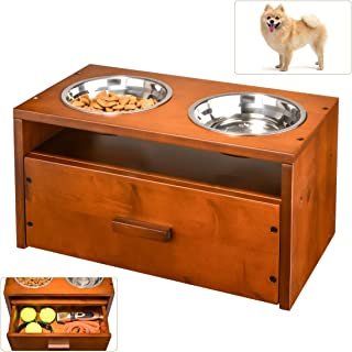 XCSOURCE Pet Bowls for Dog, Wooden Elevated Dog Bowl Pet Feeder Dog Feeding Station for Small Dogs with Storage Drawer for Dog Food Toys 2 Stainless Steel Bowls