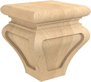Designs of Distinction Metro Bun Foot for Cabinets, Vanities, Furniture, and More - Raw/Unfinished Hardwood - Sanded, Ready to Finish with Stain or Paint - Made in The USA - 01705710-1 (Alder)
