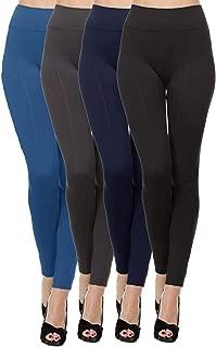 Kuda Moda 4 Pack Women's High Waist Warm Thermal Fleece Lined Full Length Leggings with Flattering Front Seam