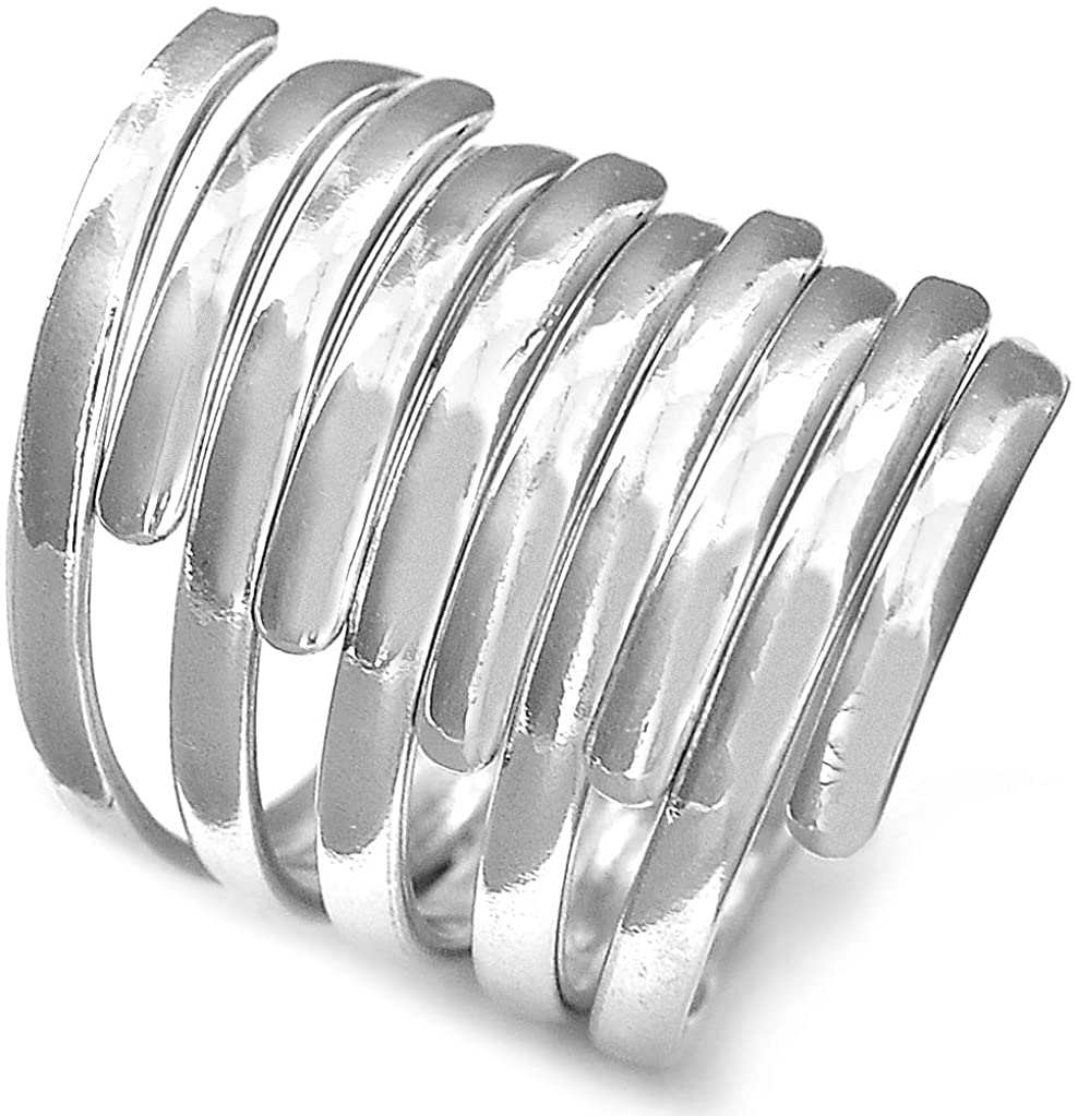 Boho-Magic 925 Sterling Silver Band Rings Wide Max 87% Some reservation OFF for St Wrap Women