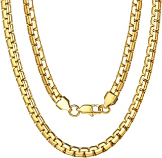 گردنبند زنجیره ای زنجیر 4/6 میلیمتر گرد، حکاکی، 18/20/22/24/26/28/30 اینچ، 18K طلا / 316L فولاد ضد زنگ // سیاه (با جعبه هدیه)