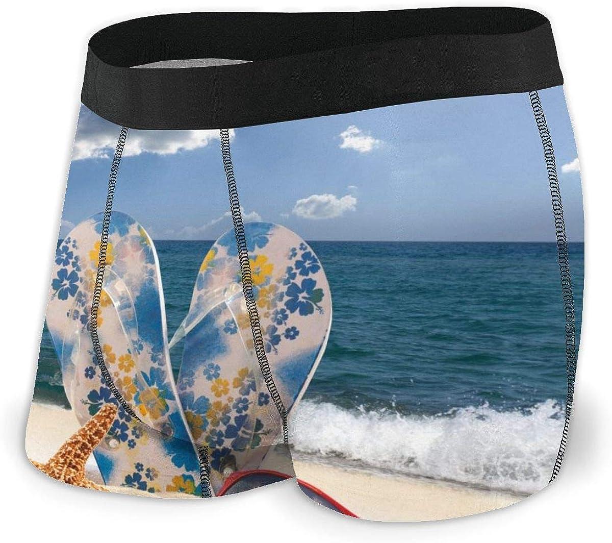 Mens Boxer Briefs Starfish, Sunglasses and Flip Flops Beach Unique Breathable Underwear