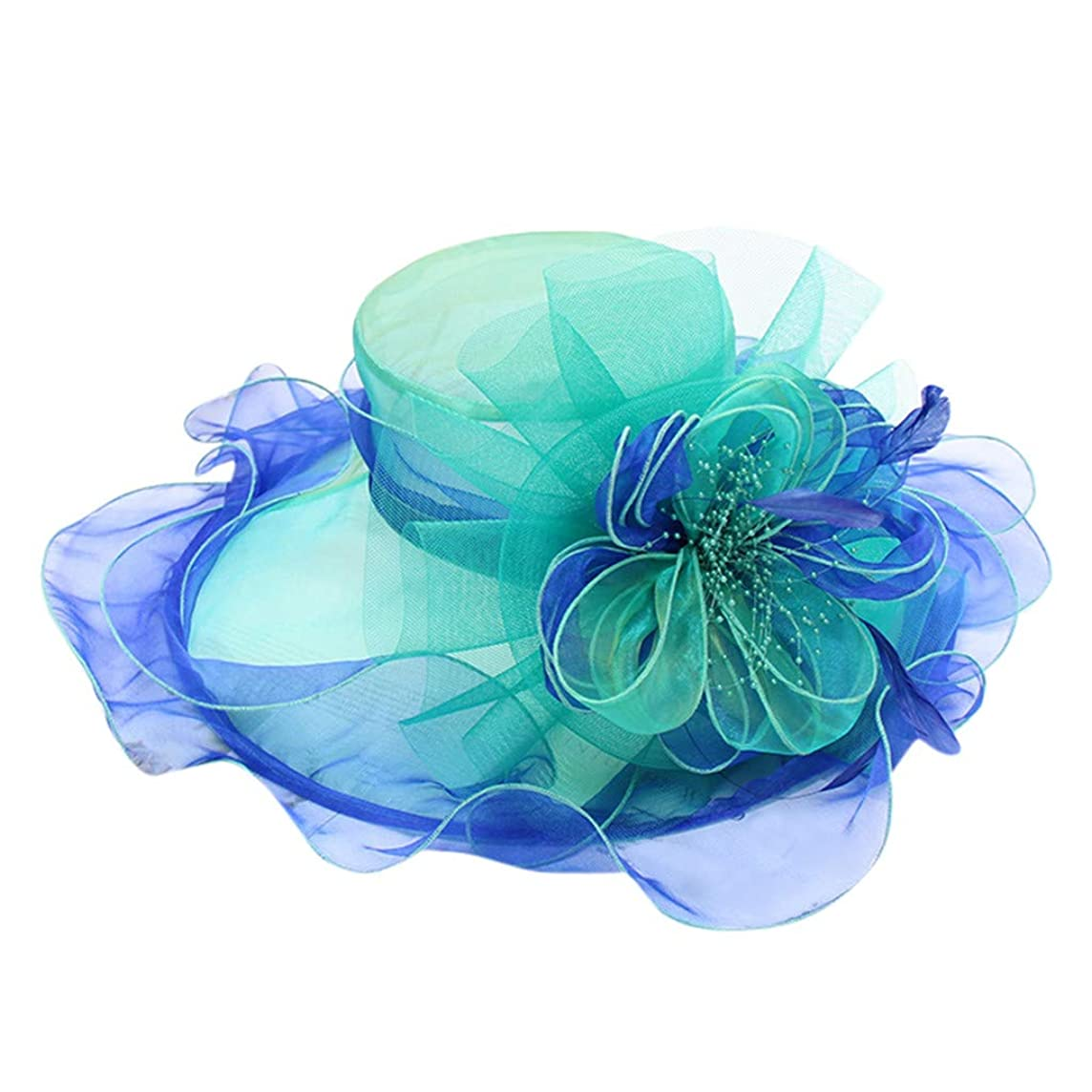 Togethor sun hat Women Kentucky Derby Church Hats for Women Dress Wedding Hat Organza feather flower fashion foldable