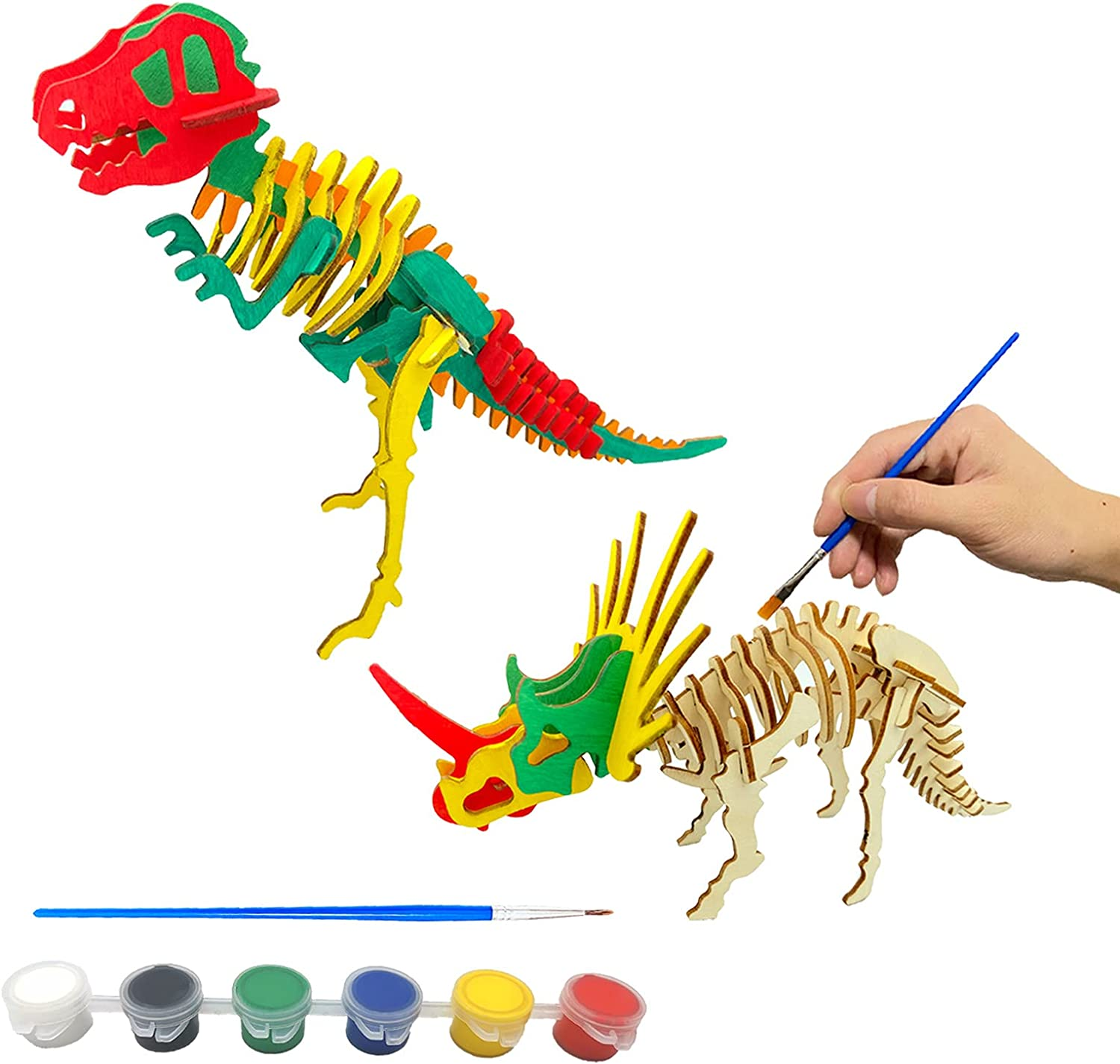 2pc 3D Dinosaur Puzzle Crafts Painting Toys Set 2pc DIY Wooden Dinosaur Skeleton Model Puzzle for Kids Educational Toys Boy Girl Adults Gifts