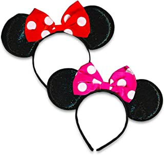 Minnie Mouse Sparkled Ears, with Assorted Red or Pink Bow (2 Pack)