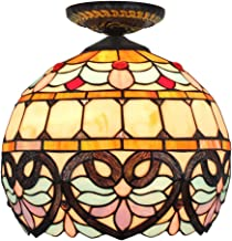 Tiffany Ceiling Fixture Lamp Semi Flush Mount 12 Inch Baroque Stained Glass Lampshade for Dinner Room Living Room Bedroom ...