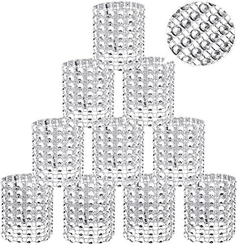 Anelli portatovaglioli con strass bling,portatovagliolo,anello avvolto in bottiglia di vetro con bouquet di strass,anelli porta tovaglioli per Nozze Tavolo Dinner Napkin Rings-30 pezzi-Argento