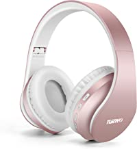 Bluetooth Headphones,Tuinyo Wireless Headphones Over Ear with Microphone, Foldable & Lightweight Stereo Wireless Headset for Travel Work TV PC Cellphone- Rose Gold