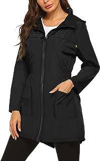 Besshopie Rain Jacket Women Lightweight Packable Waterproof Hooded Long Raincoat Outdoor S-XXL