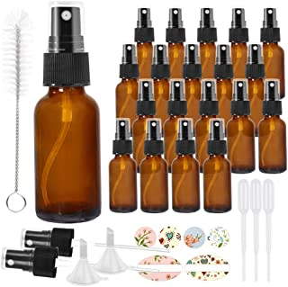 20 Pack 30 ml 1 oz Amber Glass Spray Bottles with Fine Mist Sprayer & Dust Cap for Essential Oils, Perfumes,Cleaning Produ...