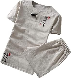 Men Short Sleeve Shirt Short Cotton Linen 2 Piece Outfits Sets