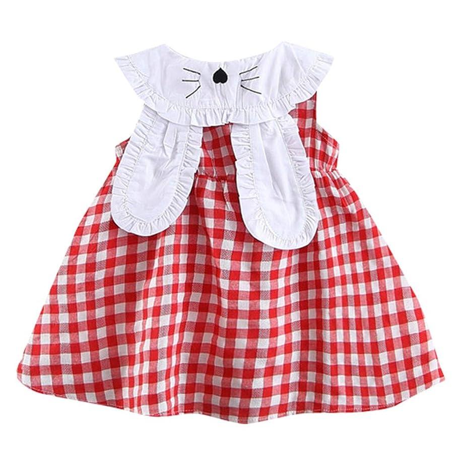 ストリップ通信網回転させる赤ちゃんの子供の女の子ノースリーブ格子縞のスカートのウサギの耳のプリントドレスかわいい襟のプリンセスドレス