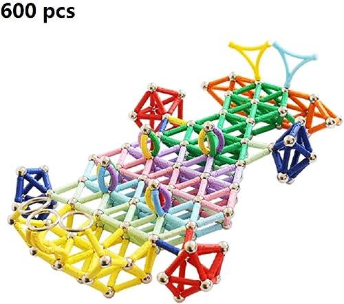 Blocs de construction magnétiques jouet set en plastique tige magnétique 600pcs enfants mini puzzle bricolage puzzles de construction tuiles empilage aihommet Creative adultes blocs de construction