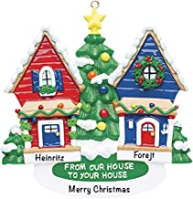 from Our House to Yours Personalized Ornament - (Unique Christmas Tree Ornament - Classic Decor for A Holiday Party - Custom Decorations for Family Kids Baby Military Sports Or Pets)