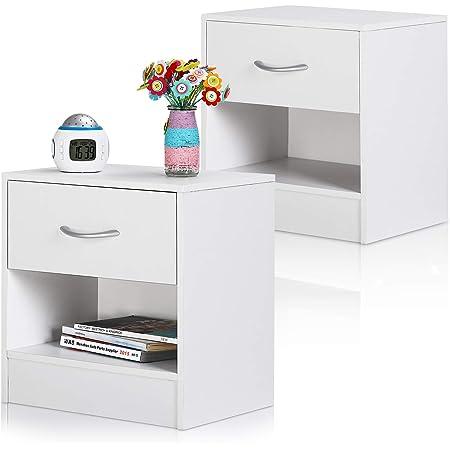 Deuba 2X Table de Chevet Blanc avec tiroir Table de Nuit mobilier avec poignée en Aluminium 41 x 39 x 28 cm Chambre à Coucher