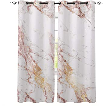 Amazon Com Grommet Window Curtain Rose Gold Flashing Marble Window Curtains Living Room Bedroom Decor 40 X 63 Inch Set Of 2 Panels Home Kitchen