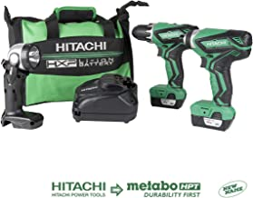 Hitachi KC10DFL2 12-Volt Peak Cordless Lithium Ion Driver Drill and Impact Driver Combo Kit (Lifetime Tool Warranty)