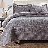 WDXN Tagesdecke Bettüberwurf Graue Stickerei leicht zu reinigen Bequeme Tagesdecke Wendbare Bettdecke mit 2 Kissenbezügen,Gray,240 * 270cm