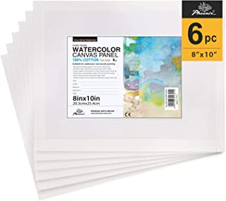 PHOENIX Watercolor Canvas Panel Boards - 8x10 Inch/6 Pack - 1/8 Inch Deep Professional Artist Painting Canvas for Water Soluble Paints