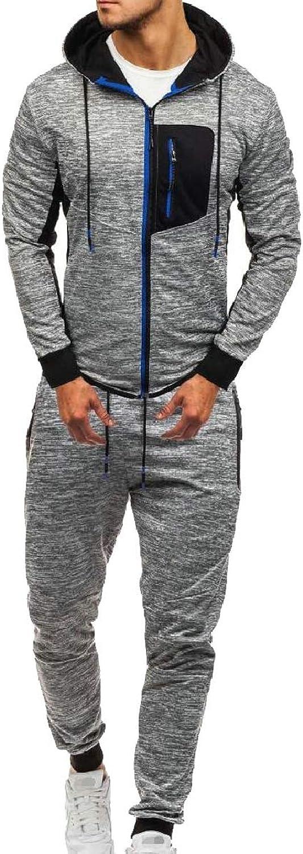 Sodossny-AU Men's Two-Piece Sets Zip Jogger Pants Sweatsuit Hoodies Athletic Tracksuits