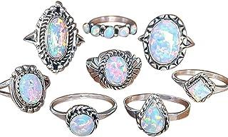 Hot Sale Silver Rings! AmyDong 8Pcs Rings Set Natural Gemstone Opal Diamond Rings Wedding Engagement Jewelr Gift (8 Pcs/Sets, Silver)
