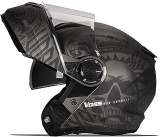 580 Conquest Modular Helmet Matte Black Apocalypse Skull Graphic with Drop Down Sun Lens - DOT - XXL