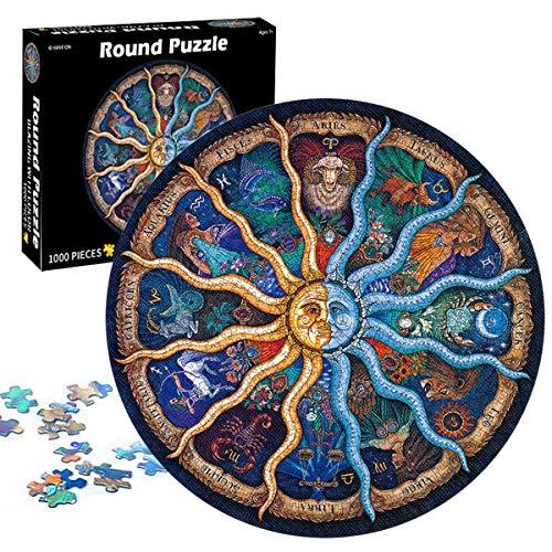 1000 Teile Runde Puzzle Kreative,Legespiel Puzzle,Erwachsenenpuzzle,Puzzle Kreative Erwachsene,Puzzle Pädagogisches,Puzzle Stressfreisetzung Spielzeug,12 Constellations
