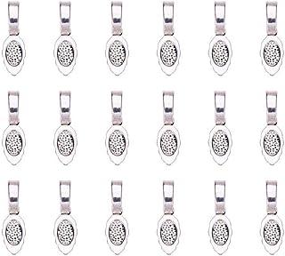 20 bélières à coller forme cuillère 16mm argent clair Neuf