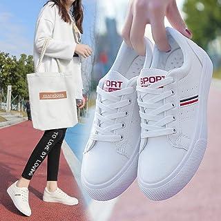 カジュアルスニーカー 女性用レザーロートップスニーカーレースアップシューズクリーミーホワイト&ホワイト (Color : White, Size : 39)