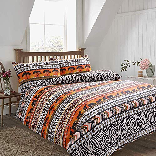 IHIdirect Printed Safari Animal Jungle Ethnic Duvet Cover & Pillowcase Bedding Set Single, Double or King Size (Double Bed)