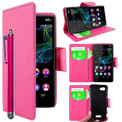 ebestStar - kompatibel mit Wiko Ridge 4G Hülle Kunstleder Wallet Hülle Handyhülle [PU Leder], Kartenfächern, Standfunktion + Stift, Pink [Phone: 143 x 72 x 7.5mm, 5.0'']