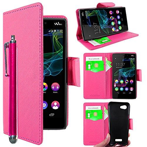 ebestStar - kompatibel mit Wiko Ridge 4G Hülle Kunstleder Wallet Case Handyhülle [PU Leder], Kartenfächern, Standfunktion + Stift, Pink [Phone: 143 x 72 x 7.5mm, 5.0'']