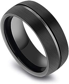 خاتم رجالي من التيتانيوم مطلي أسود بخط في المنتصف مقاس 10
