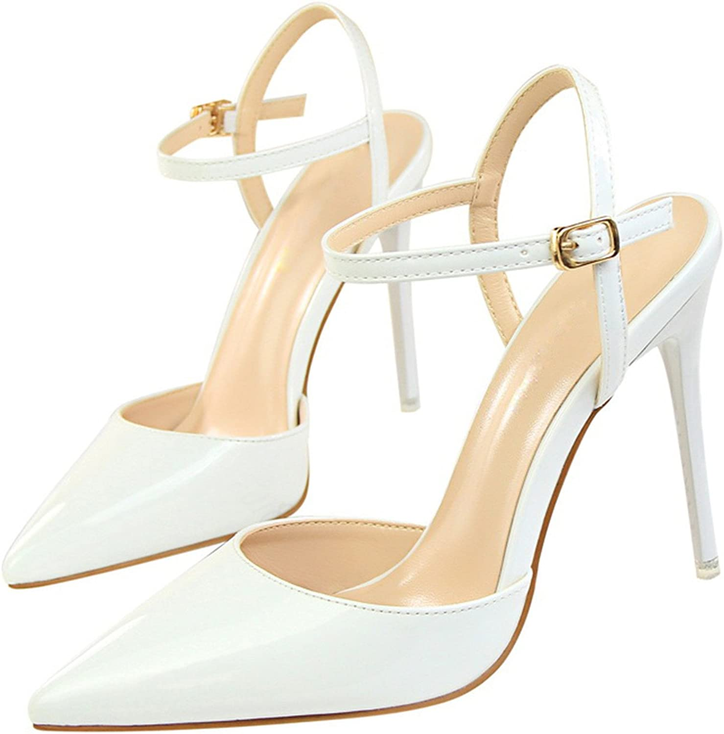 Fashion Ankle Strap shoes Woman Pointed Toe Thin Heels Women's Buckle Slingbacks Pumps high Heels White 4