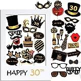 VINFUTUR 35 pz Photo Booth Compleanno 30 Anni Gadget Foto Props Accessori Kit Compleanno Fotografica Puntello Decorazioni DIY per Festa Celebrazione