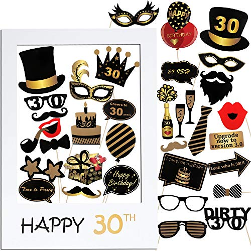VINFUTUR 30th Cumpleaños Photo Booth Props, 35pcs