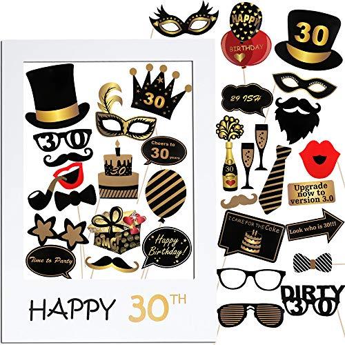 VINFUTUR 35pcs Accessoires de Photomaton 30ème Anniversaire Unisexe Funny Masquerade Kit Photobooth + Cadre Photocall pour la Décoration d'anniversaire DIY