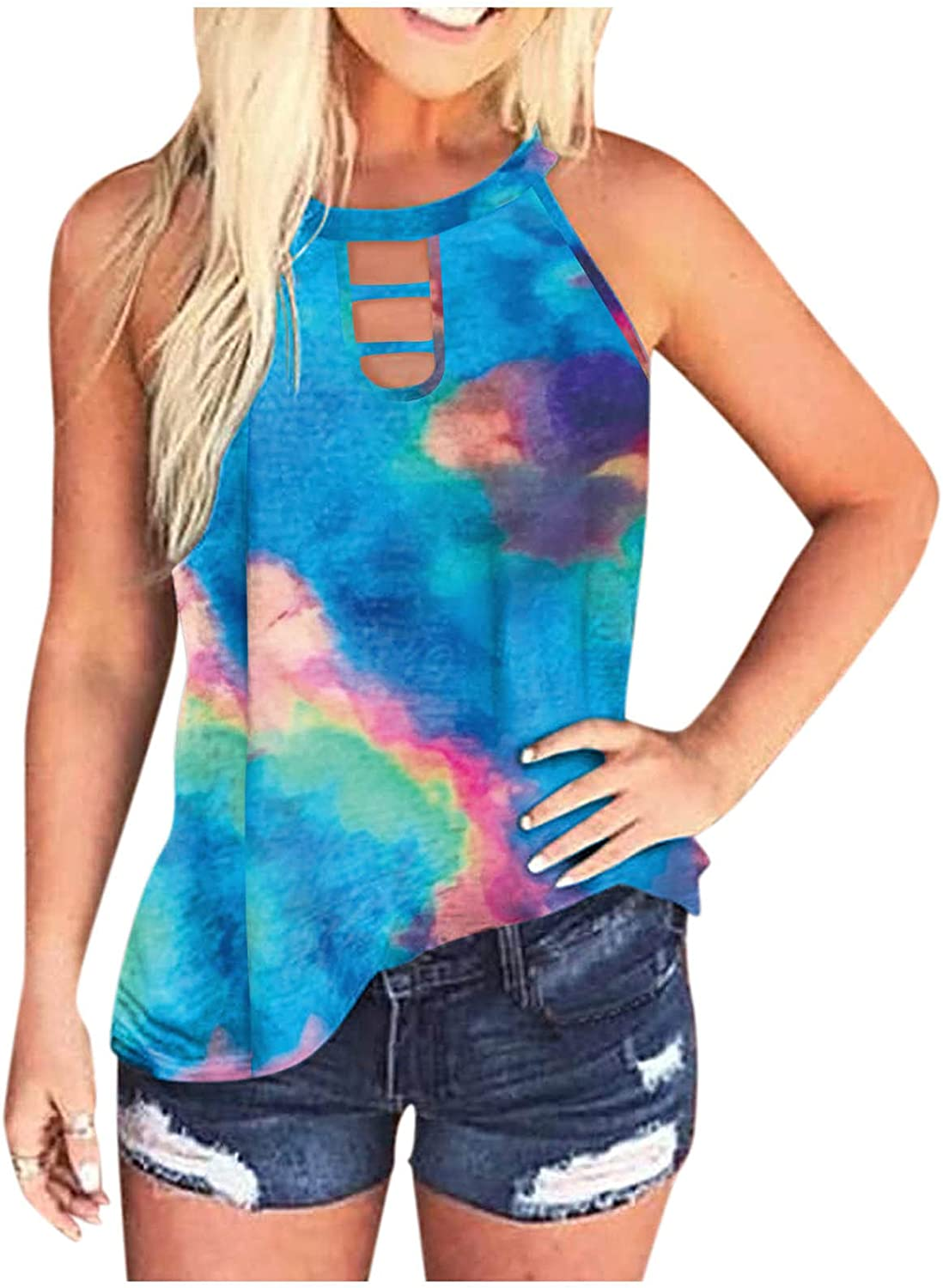 soyienma Women Tank Tops Workout, Womens Summer Color Tie-Dye Basic Tank Tops Casual Loose Sleeveless Graphic Tee Shirts