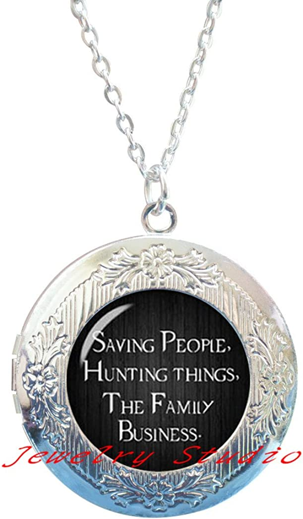 Charming Fashion Locket Necklace,Quote Locket Necklace Locket Pendant Saving People Hunting Things The Family Business Jewelry Glass Dome Locket Pendant Locket Necklace-HZ0044